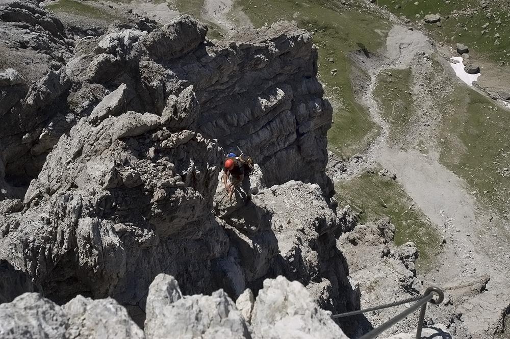 Feinste Grat- und Wandkletterei am Imster Klettersteig im Juli 2006