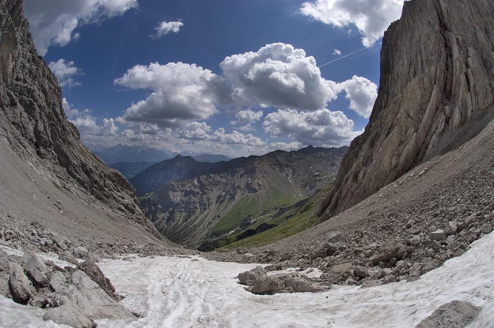 Juli 2006: Die neue Abstiegsroute vom Maldonkopf beim Imster Klettersteig